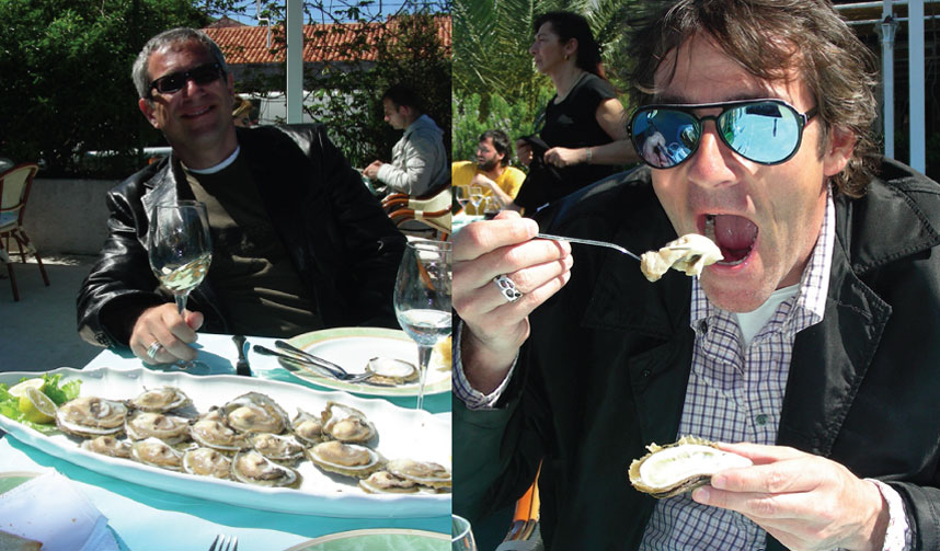 Sippity Sup (Greg Henry) eating oysters in Croatia