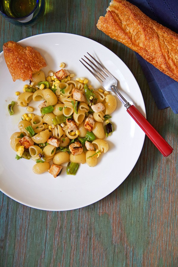 swordfish pasta with shishito peppers and corn