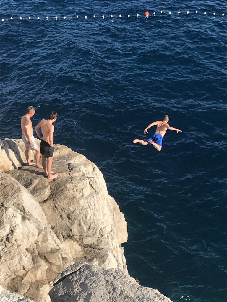 Cliff jumping in Dubrovnik Croatia; Gulet Maske