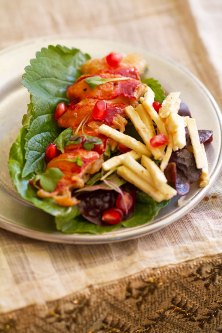 Grilled Lobster Lettuce Wraps with Sesame Remoulade and Pomegranate