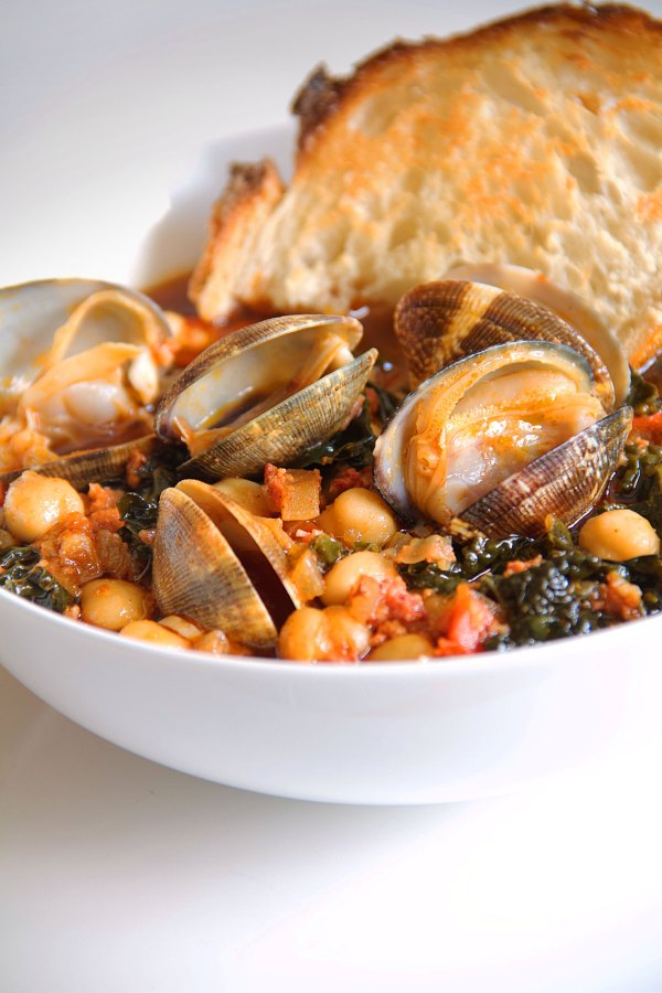 Chorizo and Clams with Kale and Soffritto