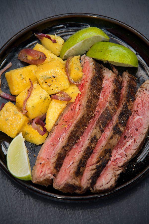 Mojo Marinated Seared Flank Steak with Fresh Mango