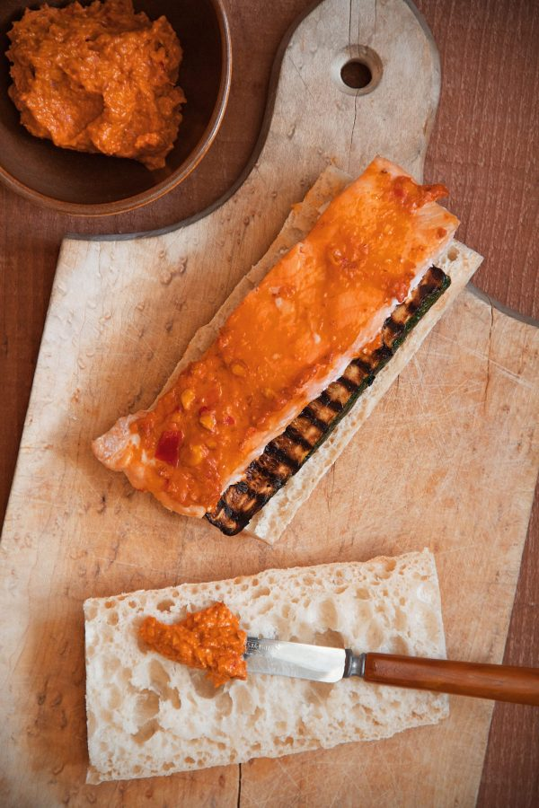 Salmon-Romesco Sandwiches