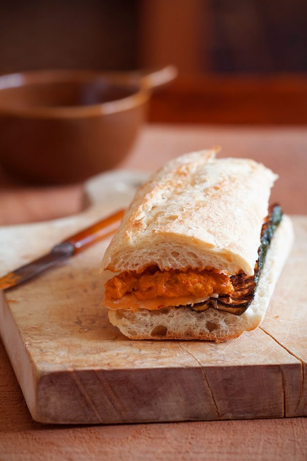 Salmon Sandwiches with Zucchini and Romesco Sauce