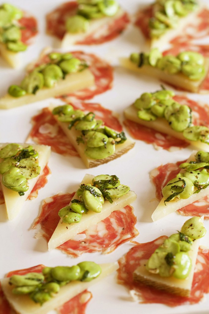Raw Fava Beans with Manchego and Salami