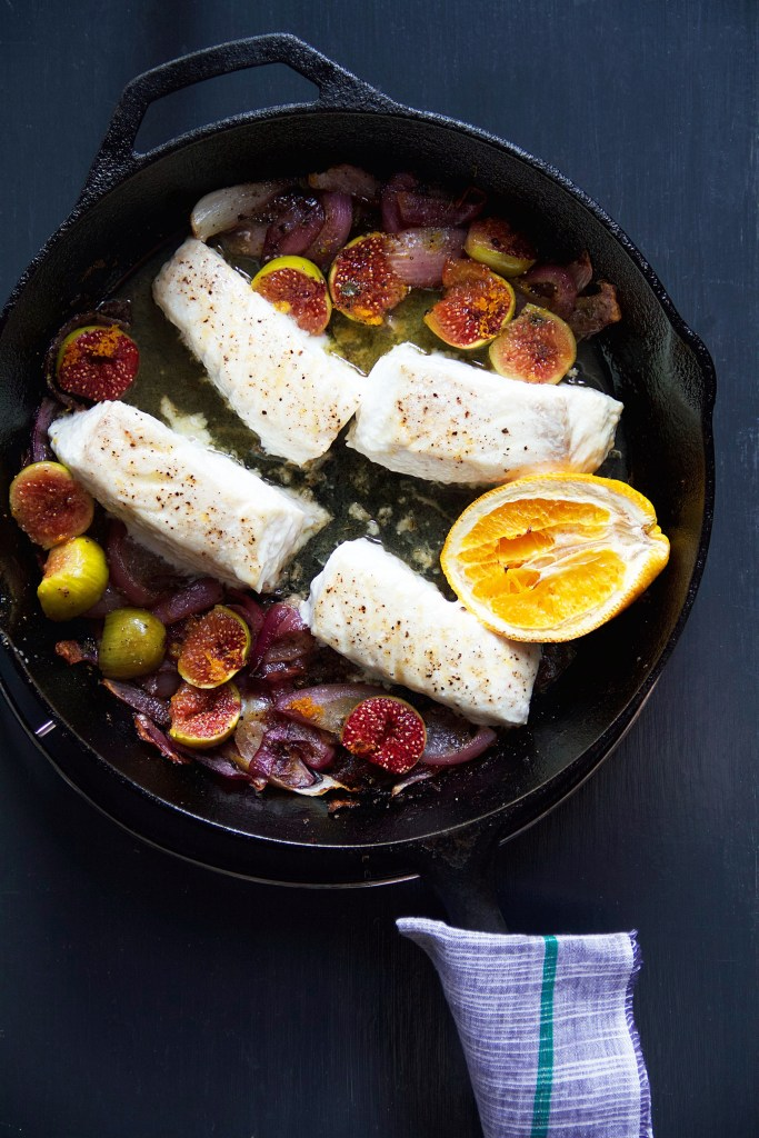 Figs and fish. Halibut to be specific.