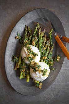 Marinated Asparagus with Burrata and Walnut Pistou