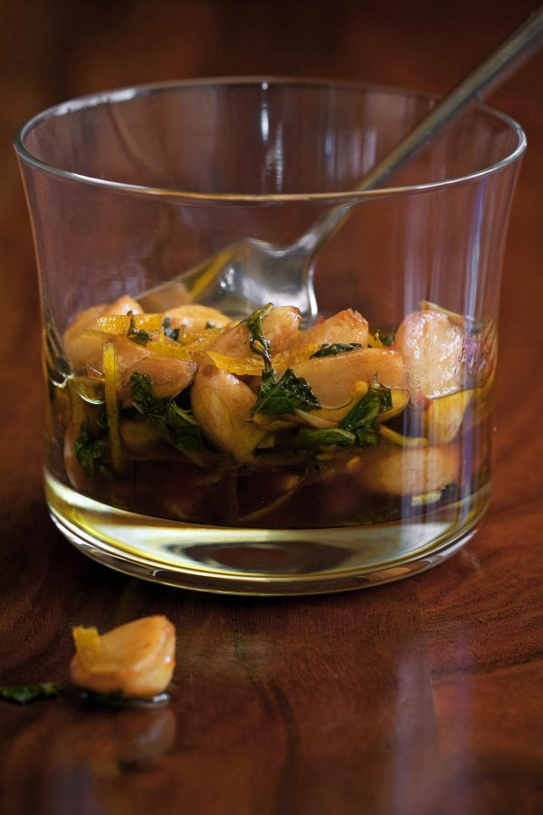 Caramelized Garlic Cloves with Orange and Mint