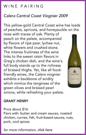 Calera Viognier and Braised Chicken Thighs wine pairing