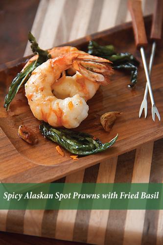 Spicy Alaskan Spot Prawns with Fried Basil