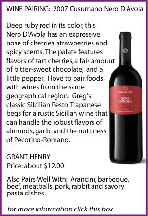 Nero Davalo Wine Pairing