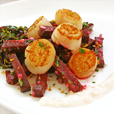 scallops with beets and horseraish from sippity sup