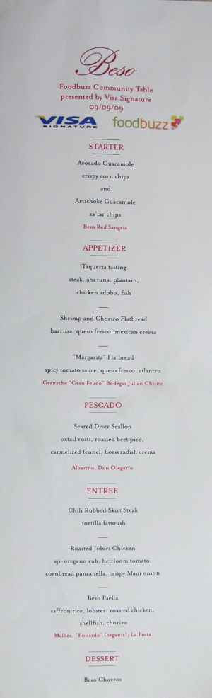 beso restaurant menu sippitysup foodbuzz