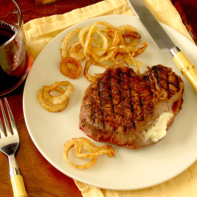 Grilled Filet Mignon with Fried Onions