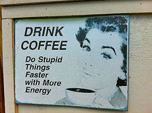 old coffee sign