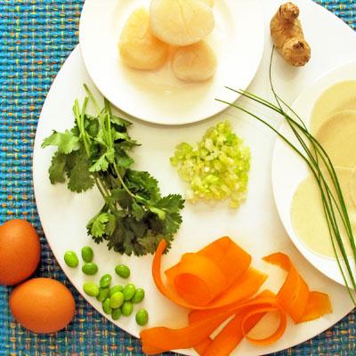 ingredients for seafood ravioli