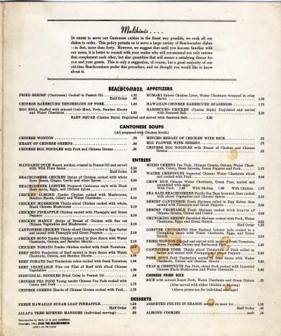 Don the Beachcomber menu