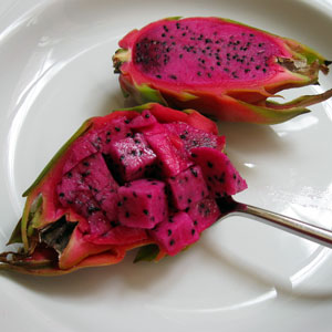 dragon fruit salad in half