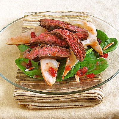 Flank Steak Salad with Roasted Pears