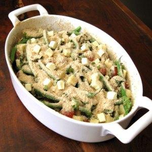basil green bean casserole prepped