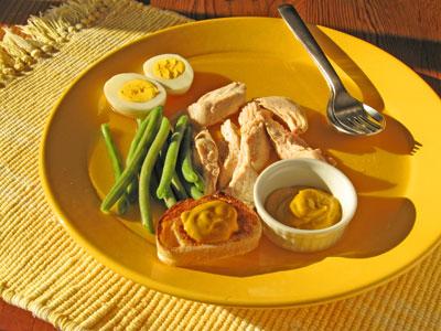poached chicken green beans homemade mustard