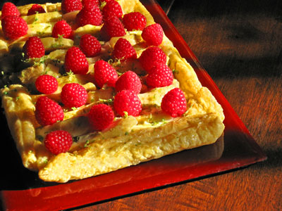 Chermoya Tart with Rasberries and Lime