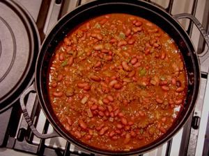 chili on the stove