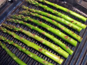 grilled asparagus on a  burgandy lacanche