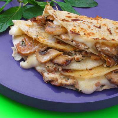mushroom, goat cheese & mint quesadilla