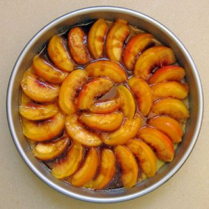 layer 1 peach upside down cake