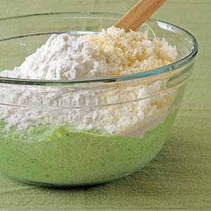 prep work for pea ricotta gnocchi