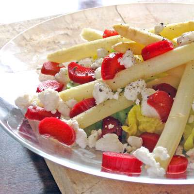 asparagus salad with walnuts, goat cheese and rhubarb