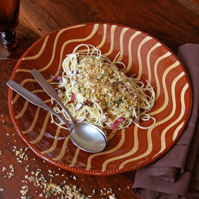 spaghetti with ricotta and radicchio