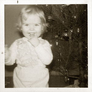young girl 1970s Christmas