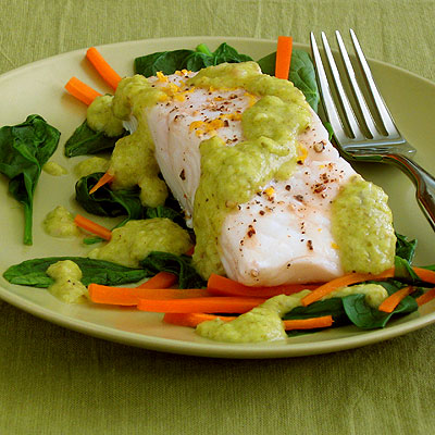 steamed halibut with lemon-green onion sauce