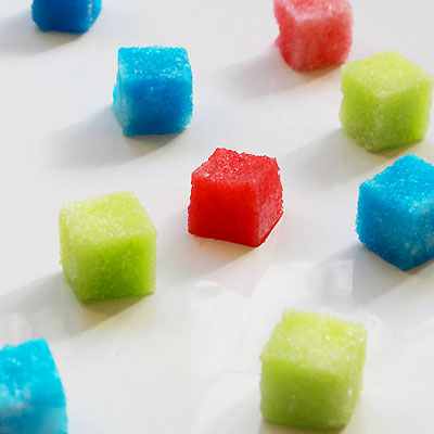 Colored sugar cubes