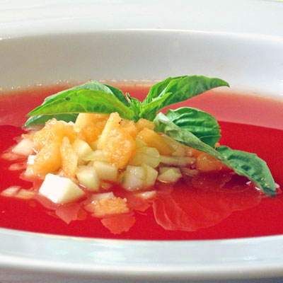 cold tomato soup with cataloupe and cucumber