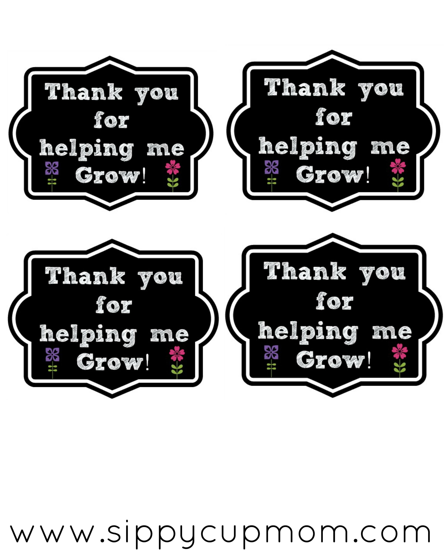 Thank You For Helping Me Grow Printable 40 Teacher