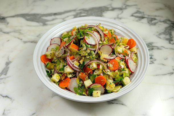 Apple and Brussles Sprout Slaw