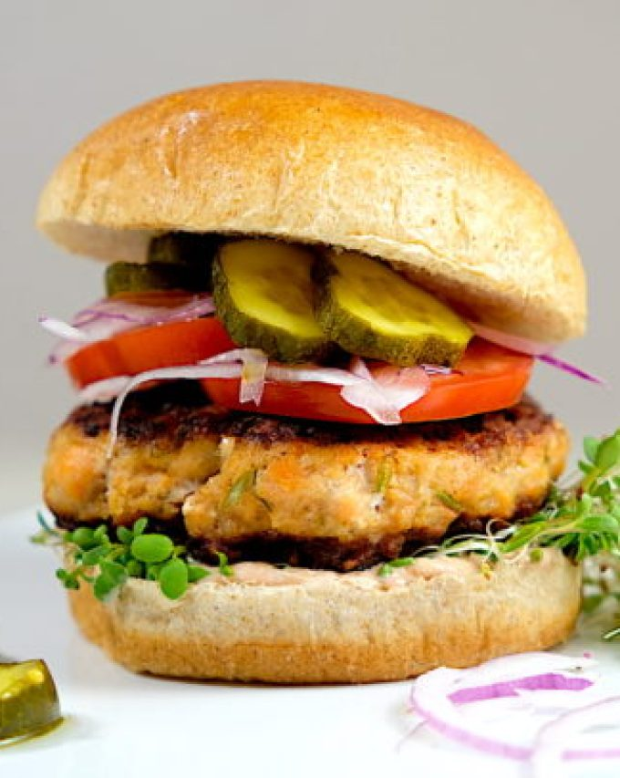 Tequila Lime Salmon Burgers
