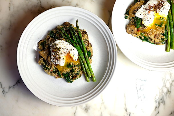 Mushroom and Spinach Savory Oatmeal
