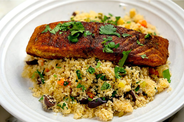 Moroccan Spiced Salmon with couscous