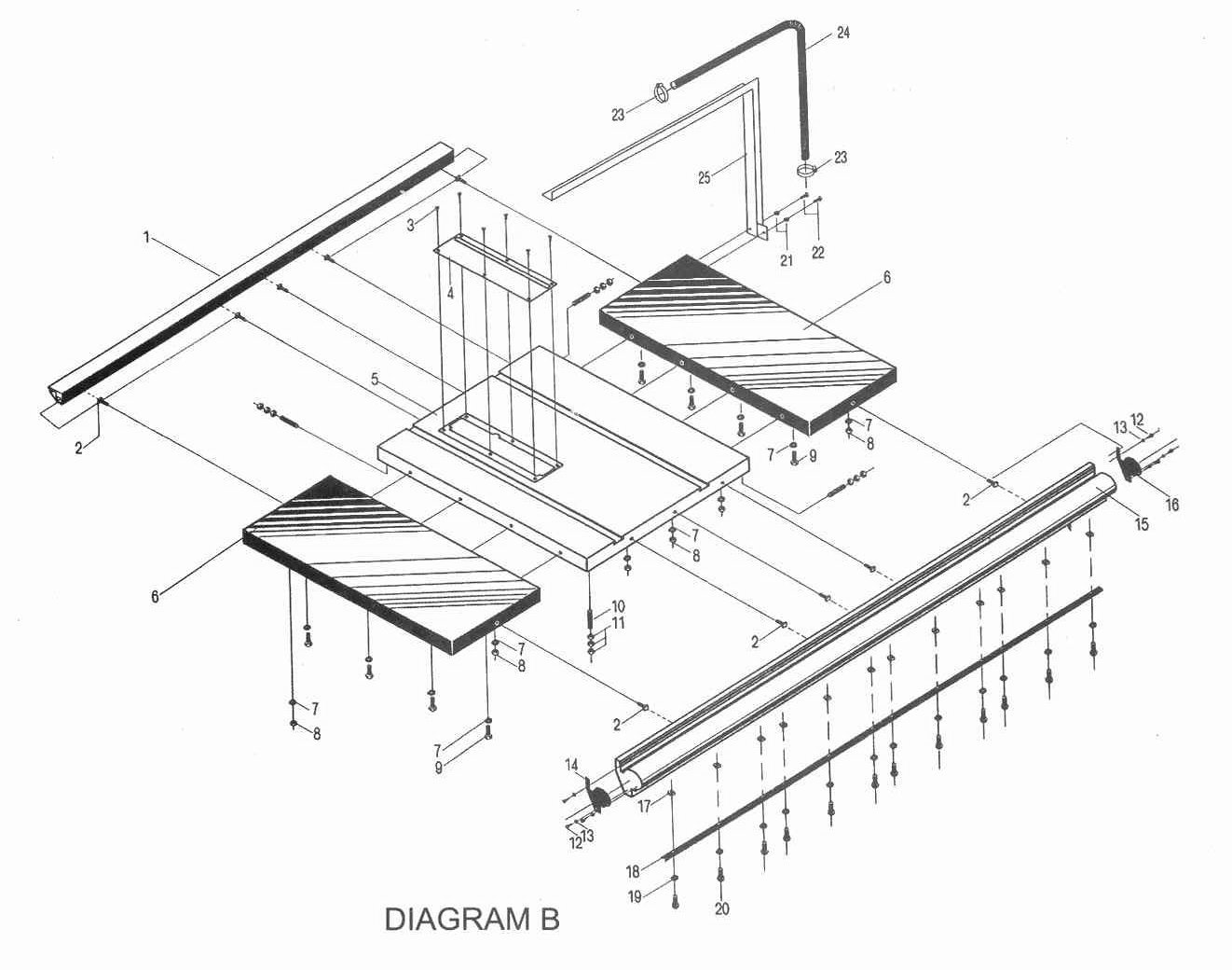 Sip 10 Heavy Duty Table Saw Diagram B