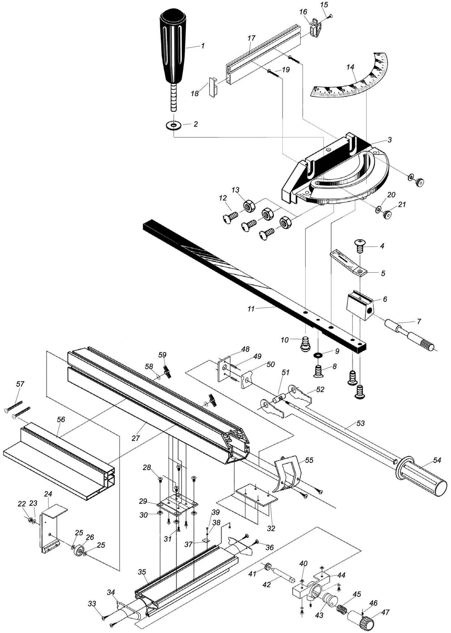 Sip 12 Heavy Duty Table Saw Mitre Amp Rip Fence Diagram