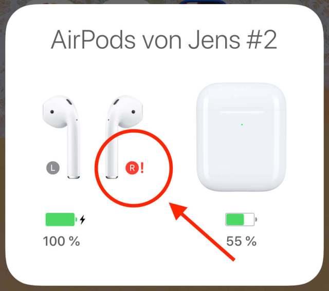 gelöst] AirPods Ladestatus am iPhone zeigt rotes Ausrufezeichen