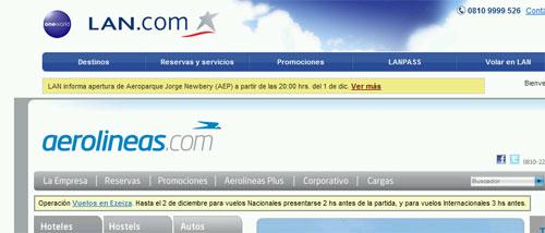 Aerolineas vs Lan: misma forma de comunicar en la web