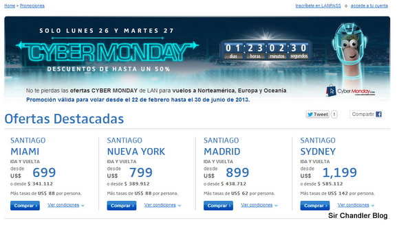 Cyber Monday de LAN: desde Santiago de Chile hay ofertas internacionales, pero…