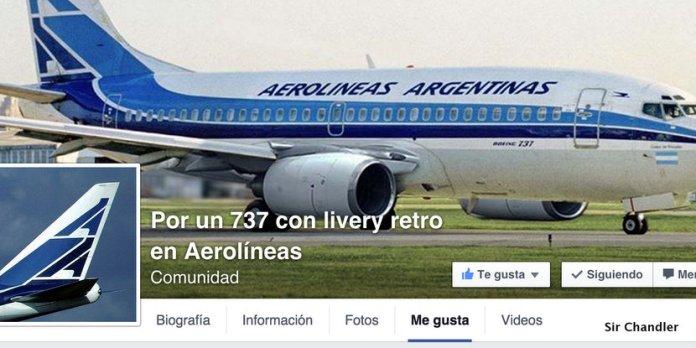 Grupo en Facebook pide un avión con diseño retro de Aerolíneas