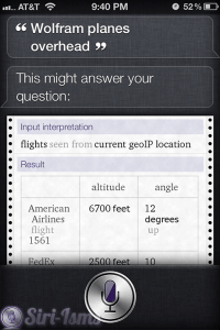 Wolfram Planes Overhead - Siri Quotes