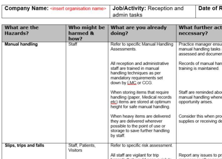 Risk Assessment Reception And Admin Tasks